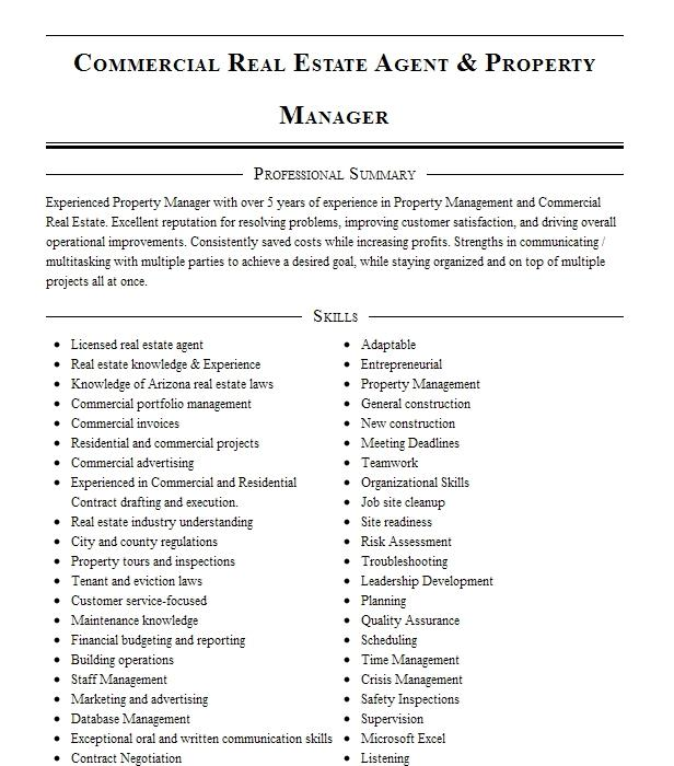 commercial real estate agent resume example balalovski