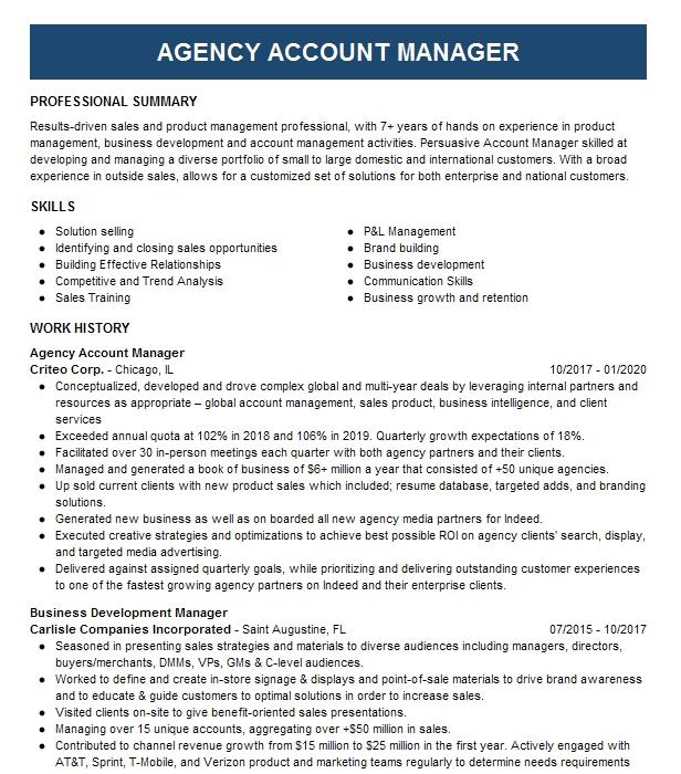 Agency Development Manager Resume Example Colonial Life
