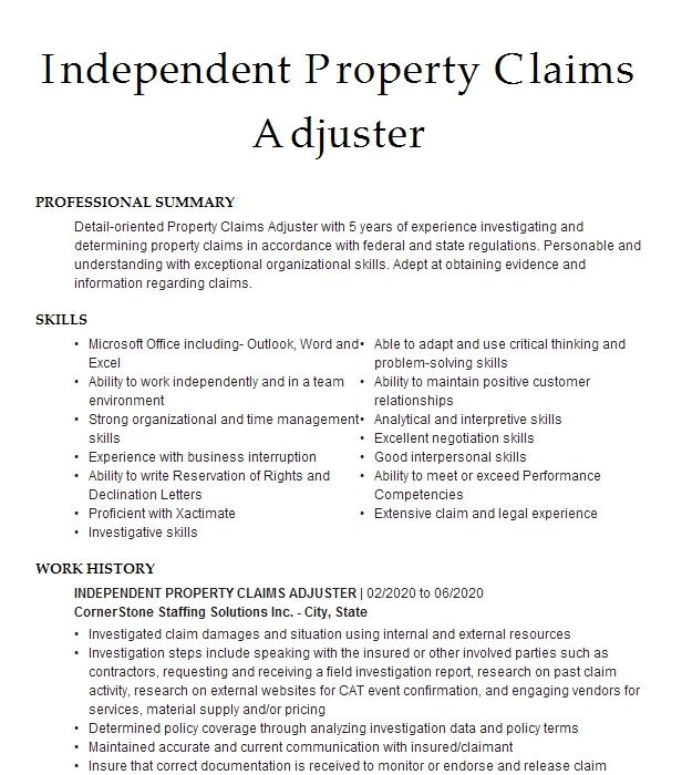 Independent Property Claims Adjuster Resume Example Company Name Baltimore Maryland