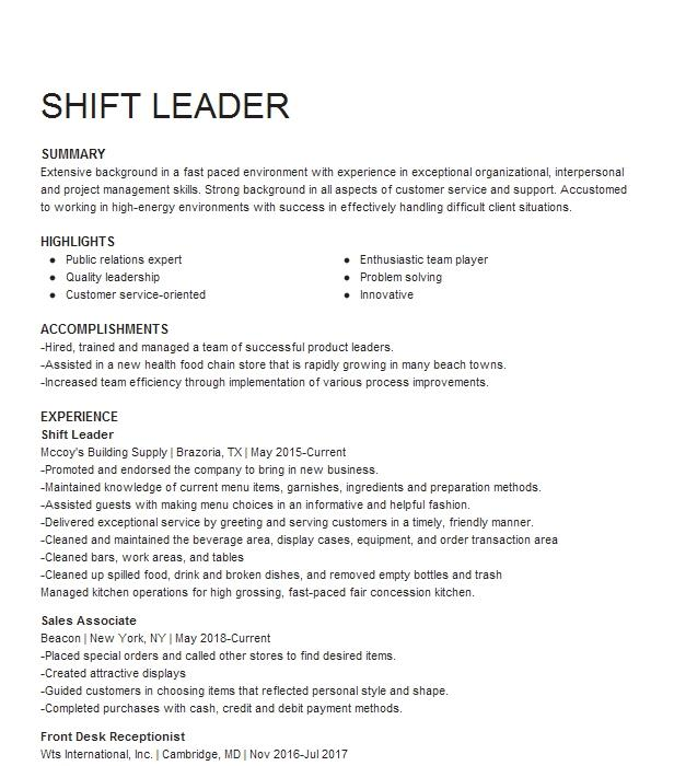 shift leader resume sample