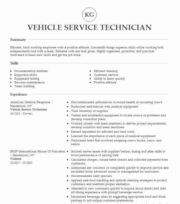 vehicle service technician resume example american medical