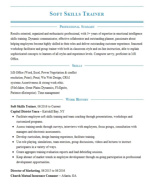 Soft Skills Trainer Resume Example Trainer Resumes Livecareer