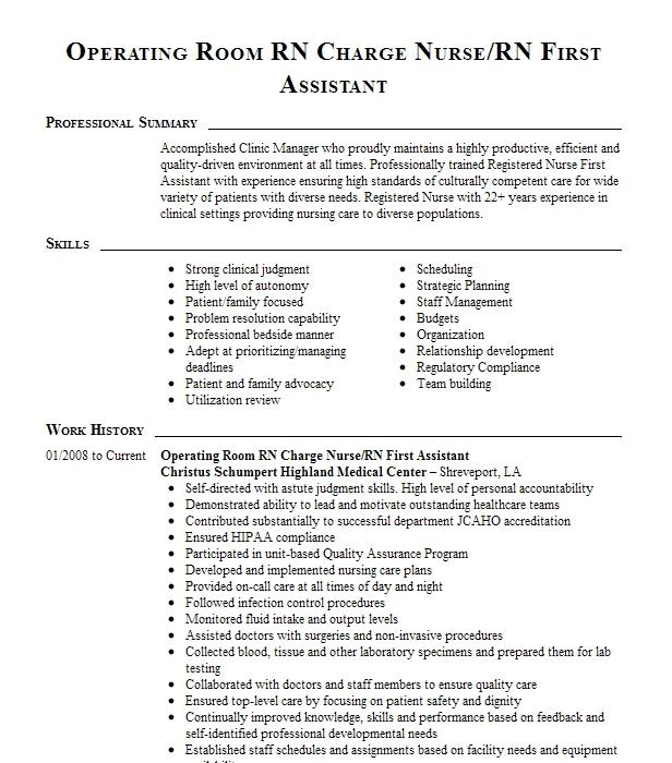 operating room assistant resume example lake norman