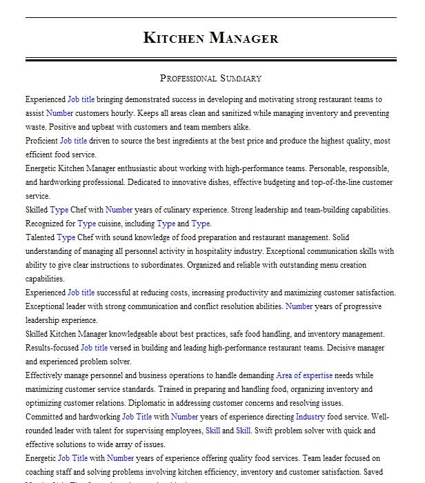 kitchen manager resume example chipotle