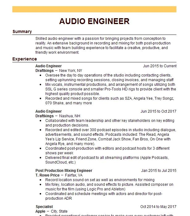 Audio Engineer Resume Sample | Engineering Resumes | LiveCareer