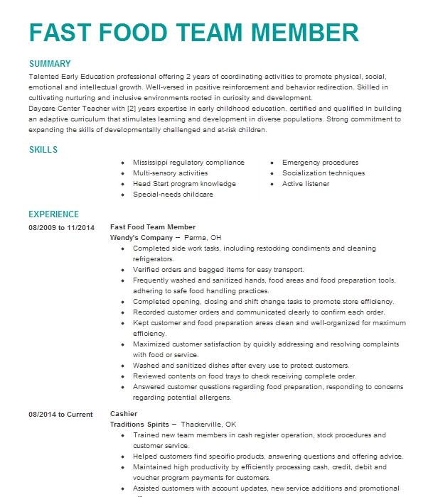 fast food crew member resume example jack in the box