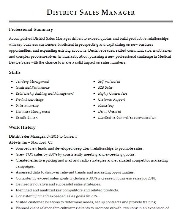 Divisional sales manager resume