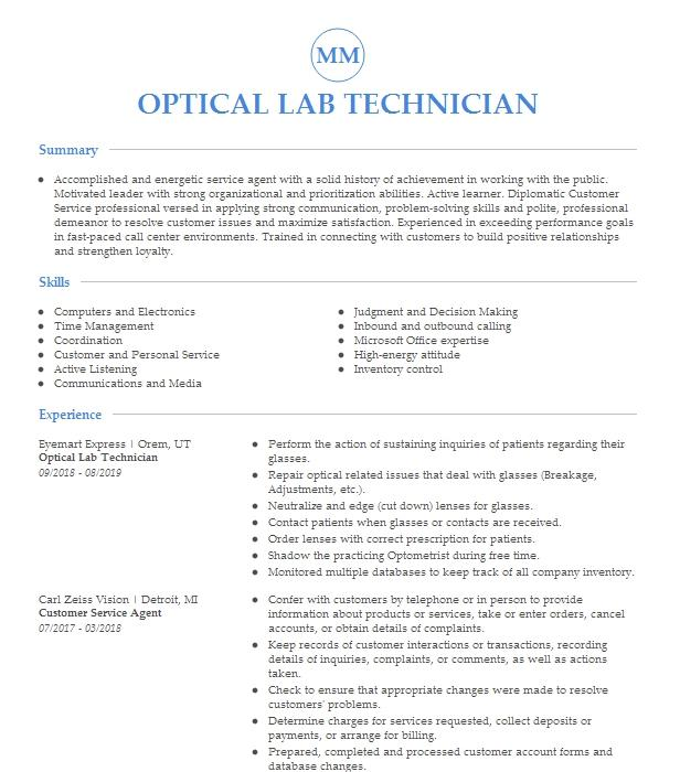 Optical Lab Technician Resume Example Southern Optical
