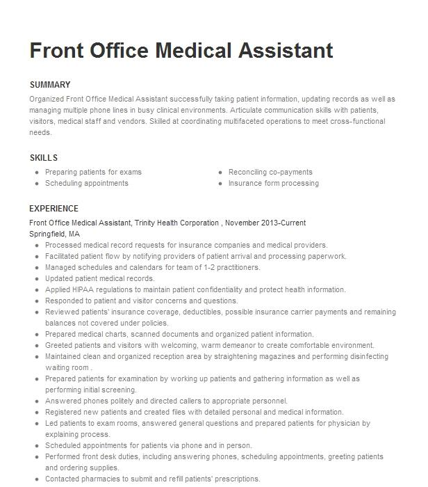 front office medical assistant resume example