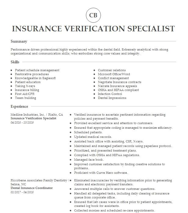 Insurance Verification Specialist Resume Example Livecareer