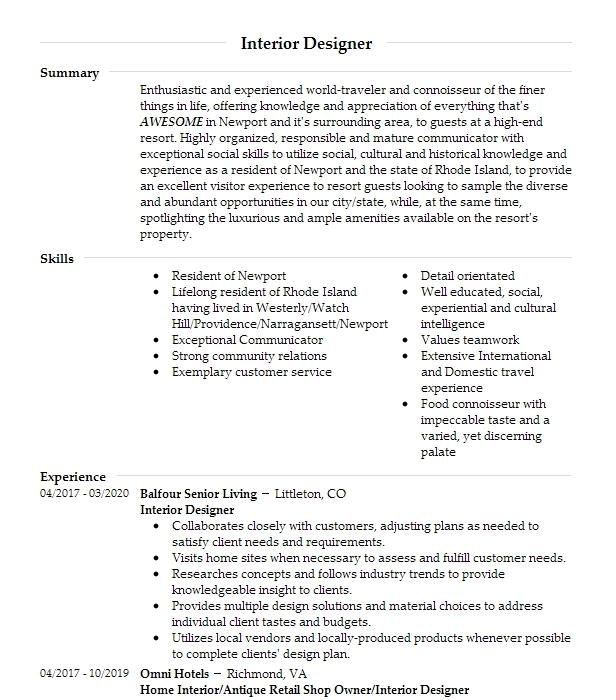 Interior Designer Resume Example Interior Design Resumes Livecareer
