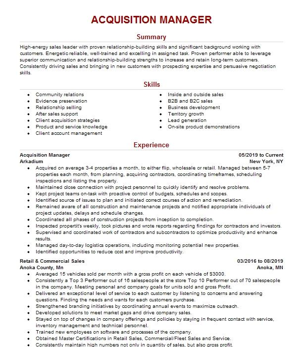 Property Acquisition Manager Resume Example Smart Real