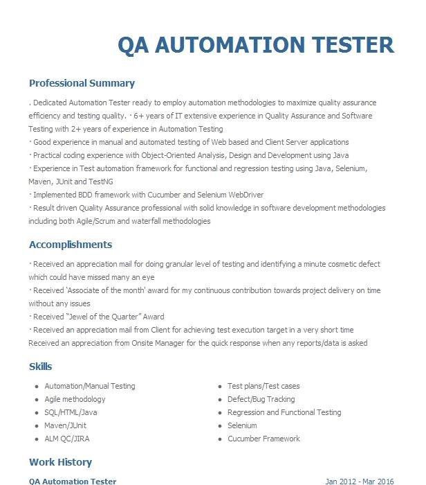 qa automation tester resume example company name  euless