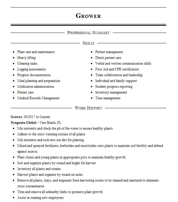 Cannabis Grower Resume Example Evergreen Buds Monticello Arkansas