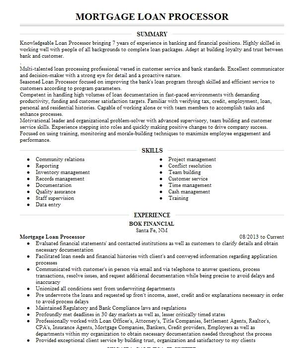 mortgage loan processor manager resume example overflow mortgage processing  inc