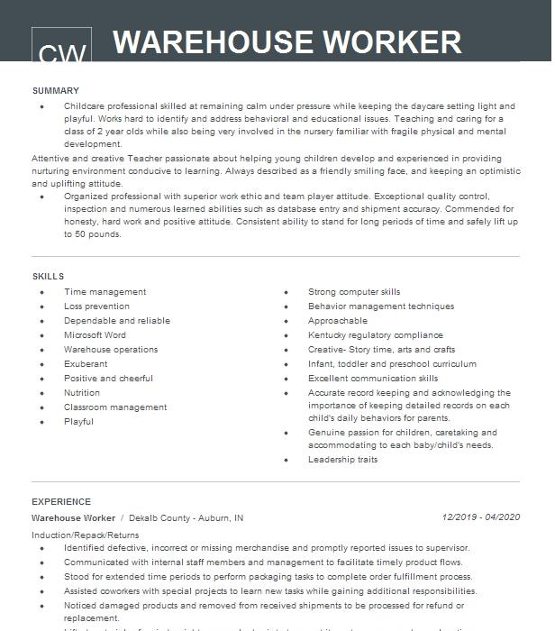 warehouse worker resume example sears holding