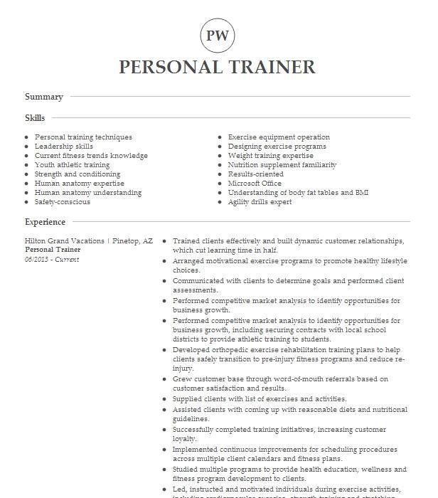 Personal Trainer And Team Sports Trainer Resume Example