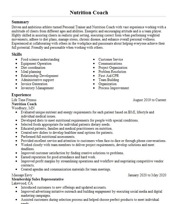 personal trainer and nutrition coach resume example