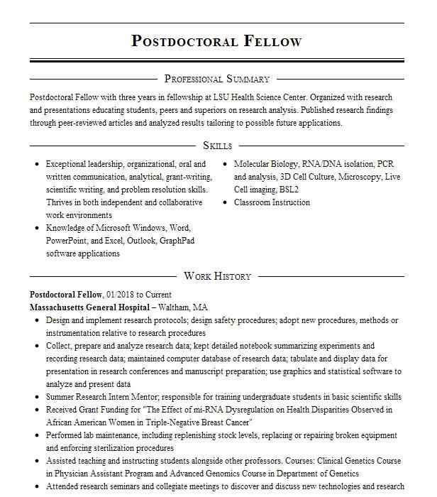 Postdoctoral Fellow Resume Example National Cancer Institute