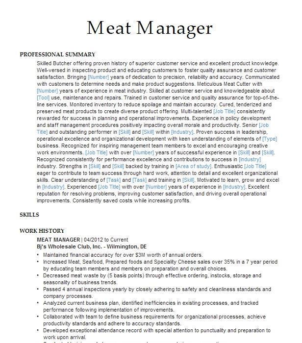 meat manager resume example publix
