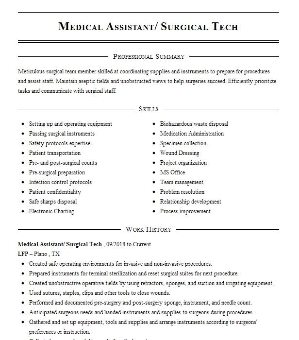 surgical tech resume example north broward medical level 1