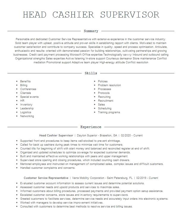 head cashier supervisor resume example the home depot