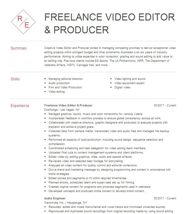 lead video editor  producer resume example frederator