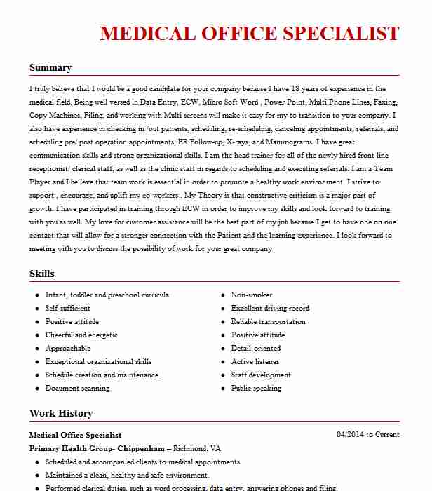 medical office specialist objectives