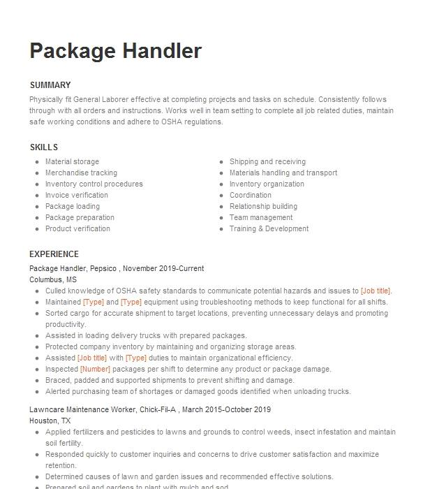 package handler resume example fedex  southaven mississippi