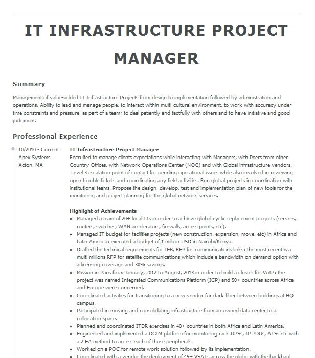 infrastructure project manager resume example deloitte