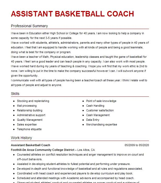 College basketball coach resume professional blog editor websites for college