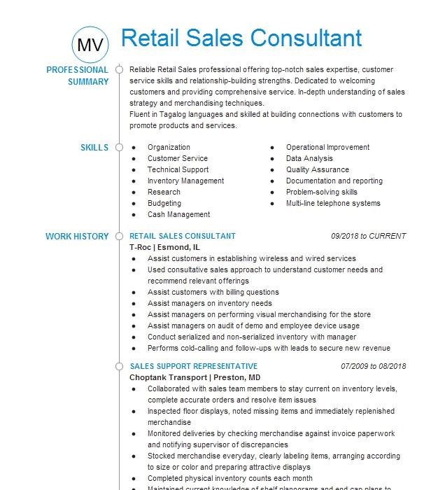 retail sales consultant  rsc  resume example at u0026t wireless