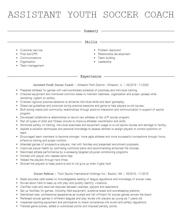 assistant soccer coach resume example bucknell university