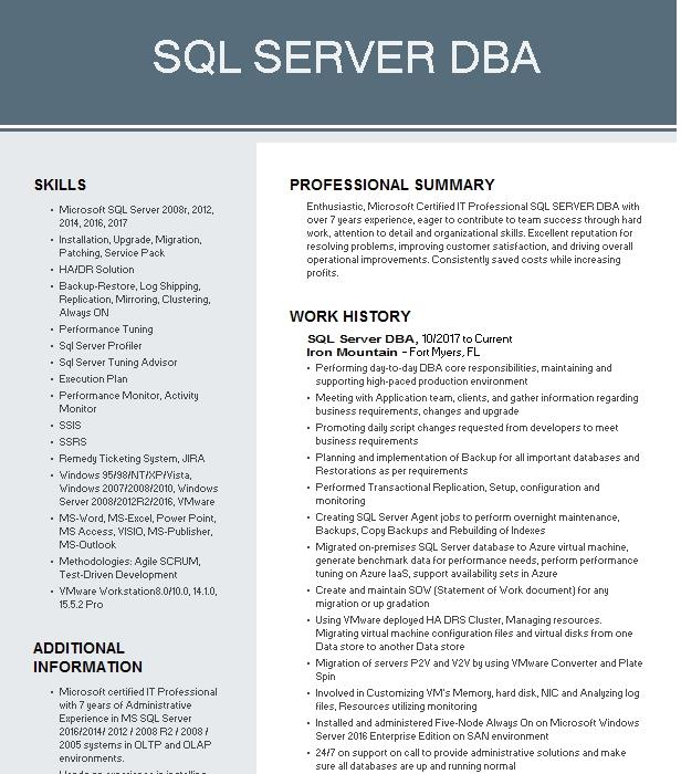 sql server dbaproduction support dba resume example