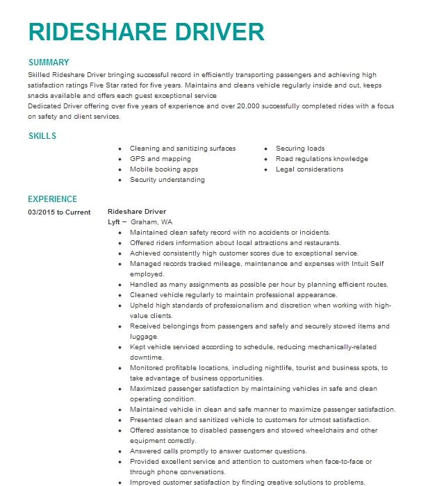 rideshare driver resume example lyft and uber  buena park