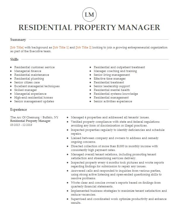 residential property manager resume example bonaventure