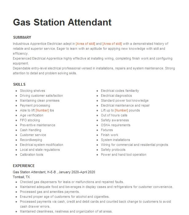 assistant manager  gas station attendant resume example anna paul  inc