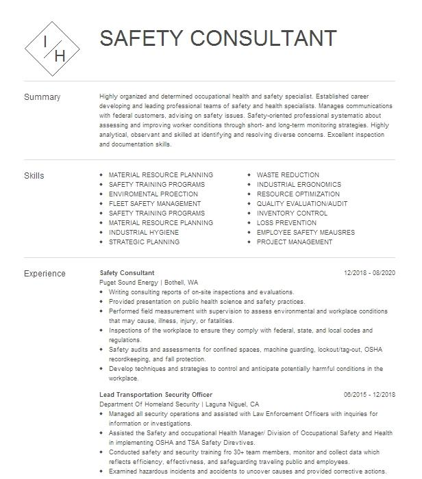 safety mgr consultant resume example certified safety