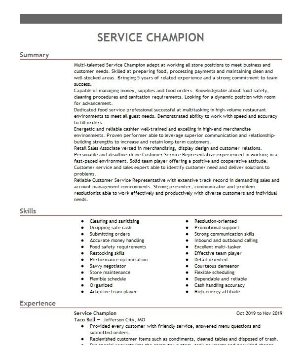 service champion resume example taco bell