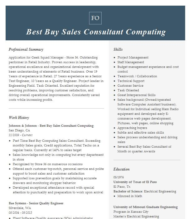 Best Buy Computer Sales Resume