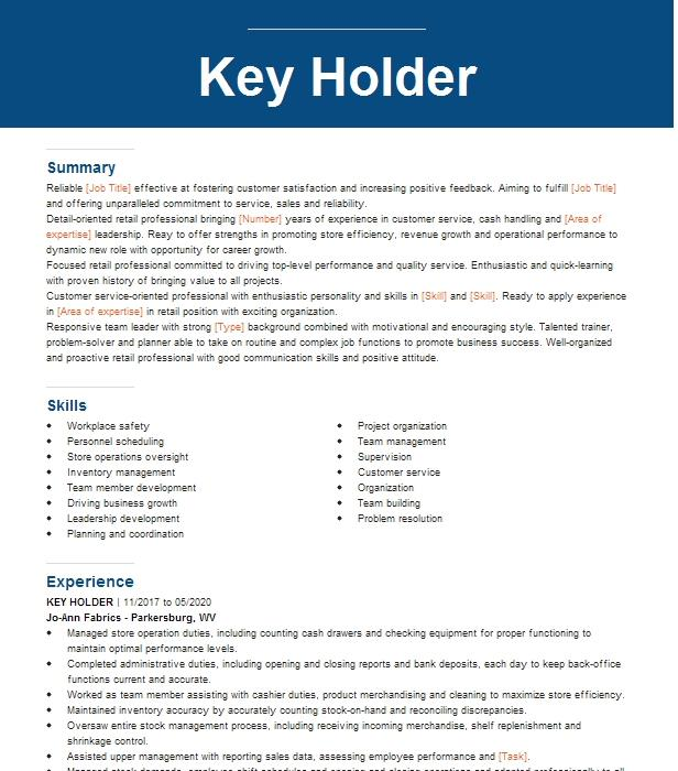 key holder resume example hot topic inc