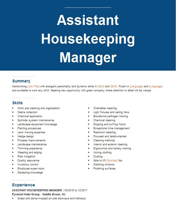 Assistant Housekeeping Manager Resume Example Hilton
