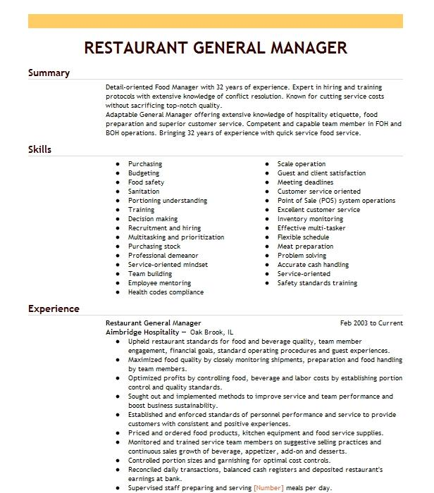 restaurant general manager resume example kfc  taco bell