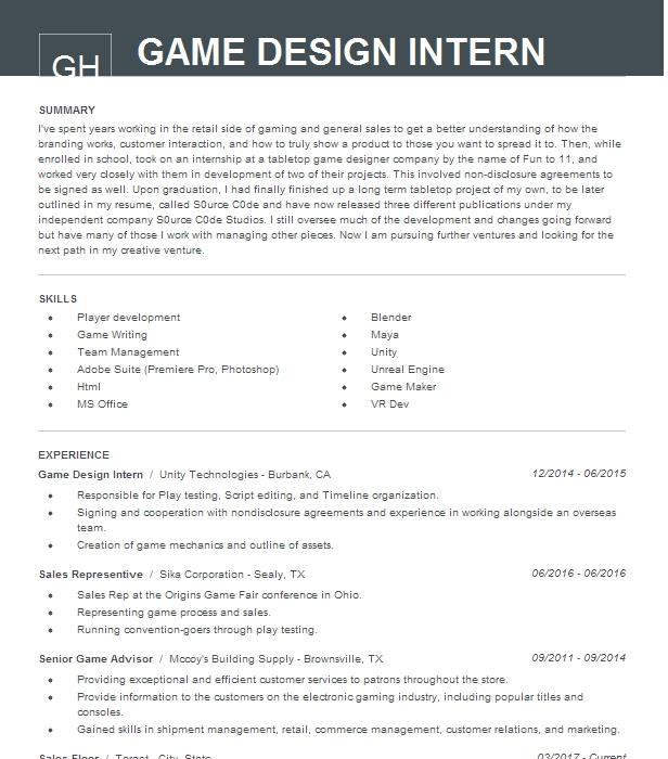 Game Design Intern Resume Example Scarecrow Arts