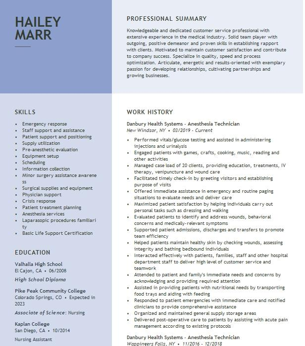 Anesthesia Technician Resume Sample | Resumes Misc | LiveCareer