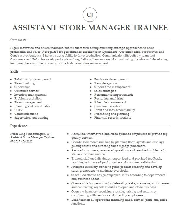 manager trainee   store manager resume example aldi