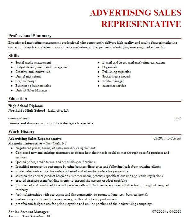 Advertising Sales Representative Resume Sample Livecareer
