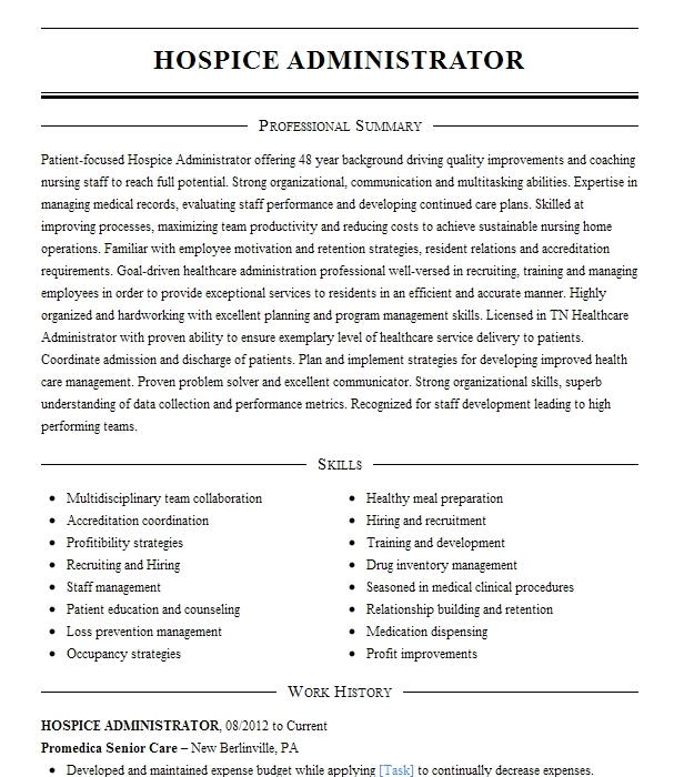 hospice administrator executive director resume example