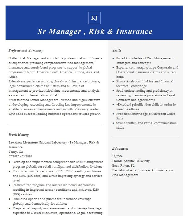 insurance risk manager resume example march of dimes
