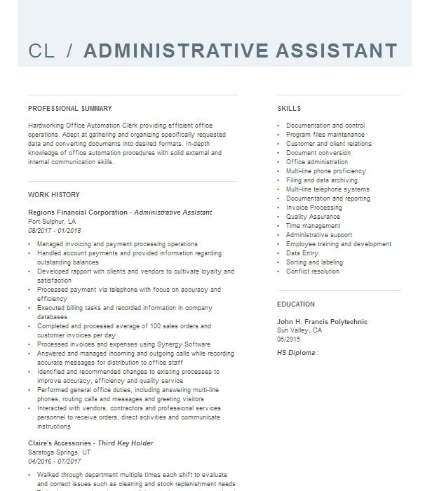Administrative Officer GS 12 Detail Resume Example BUREAU